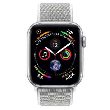 Apple Watch Series 4 LTE 44 мм (алюминий серебристый/белая ракушка)