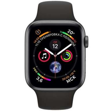 Apple Watch Series 4 LTE 44 мм (сталь черный космос/черный)