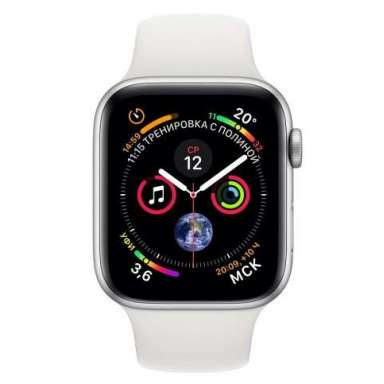 Apple Watch Series 4 LTE 44 мм (сталь серебристый/белый)