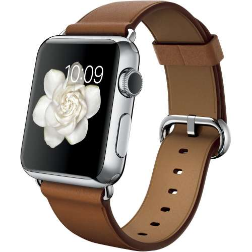 Умные часы Apple Watch 38mm Stainless Steel with Saddle Brown Classic [MMF72] фото 1