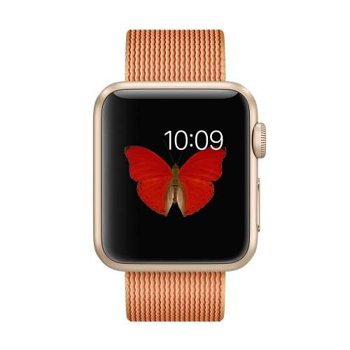 Умные часы Apple Watch Gold 38mm Gold with Gold/Red Woven Nylon [MMF52] фото 1