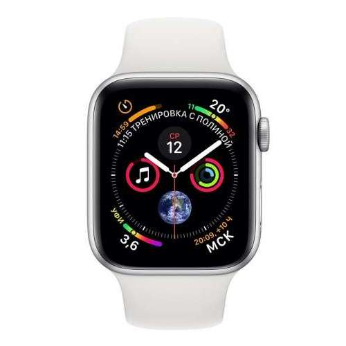 Apple Watch Series 4 LTE 44 мм (алюминий серебристый/белый) фото 1