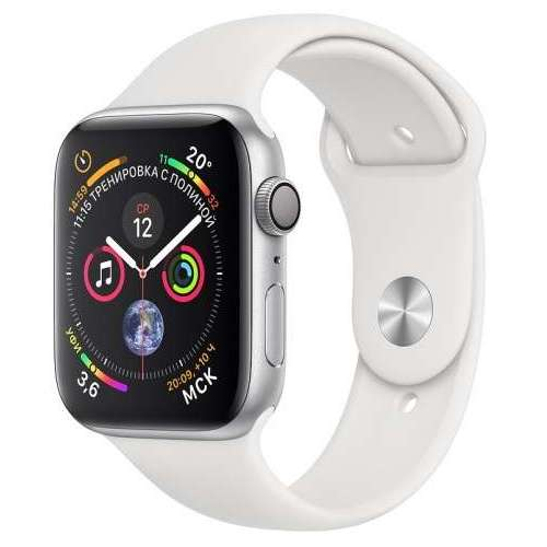 Apple Watch Series 4 LTE 44 мм (алюминий серебристый/белый) фото 2