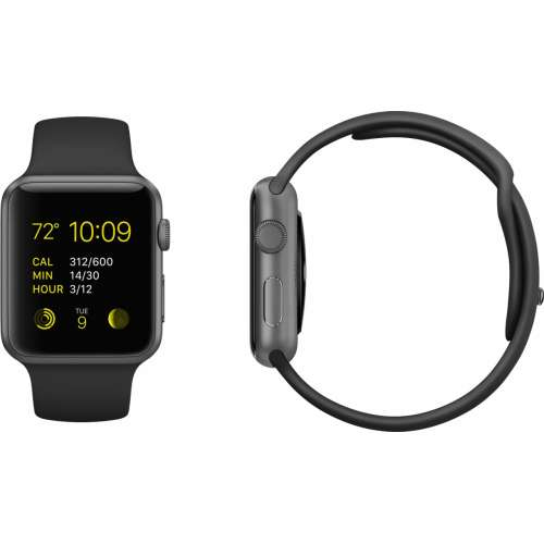 Умные часы Apple Watch Sport 42mm Space Gray with Black Sport Band (MJ3T2) фото 1