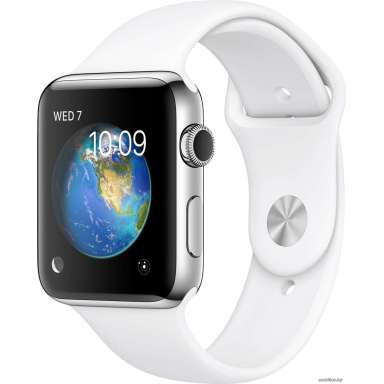 Apple Watch Series 2 38mm Stainless Steel with White Sport [MNP42]
