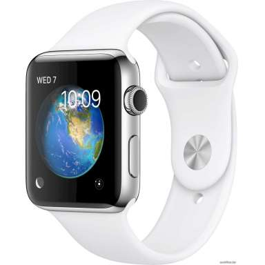 Apple Watch Series 2 42mm Stainless Steel with White Sport [MNPR2]
