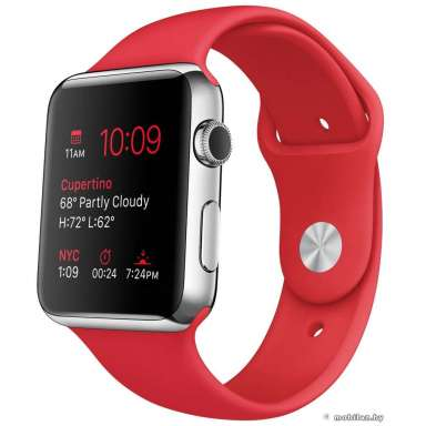 Apple Watch Sport 42mm Silver with Red Sport Band [MLLE2]