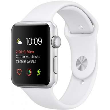 Apple Watch Series 2 42mm Silver with White Sport Band [MNPJ2]