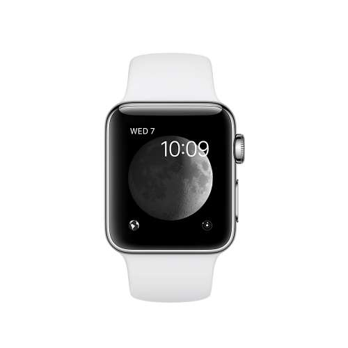 Умные часы Apple Watch 38mm Stainless Steel with White Sport Band (MJ302) фото 1