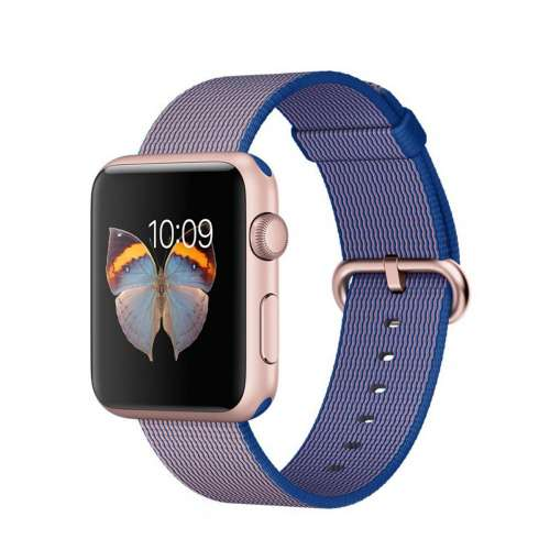 Умные часы Apple Watch Sport 38mm Rose Gold with Royal Blue Woven Nylon [MMFP2] фото 1