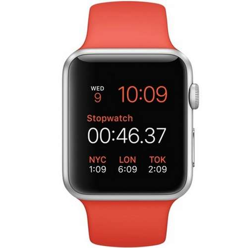 Умные часы Apple Watch Sport 42mm Silver with Orange Sport Band (MLC42) фото 1