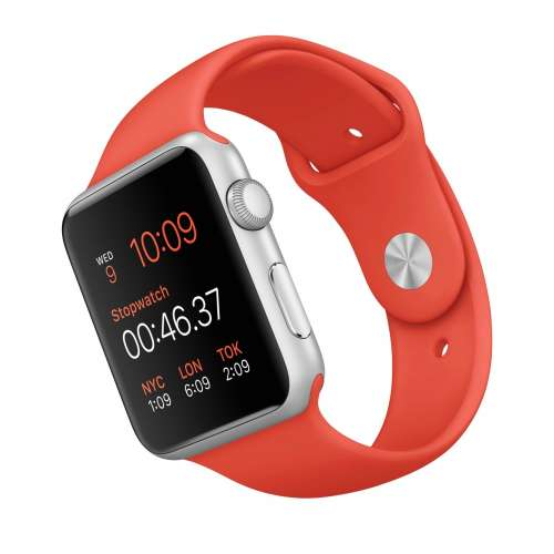 Умные часы Apple Watch Sport 42mm Silver with Orange Sport Band (MLC42) фото 3